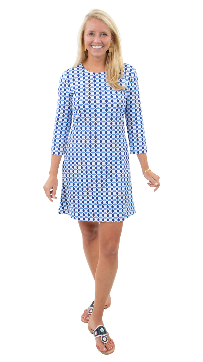 Grace Dress - Geo Blue/Azure - FINAL SALE