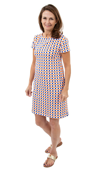 Marina Dress - Geo Orange/Blue