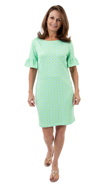 Dockside Dress - Geo Green/Aqua