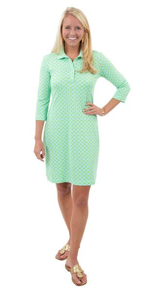 Port Dress - Geo Green/Aqua - FINAL SALE