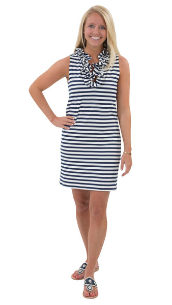 Skipper Dress -Navy/White Stripes