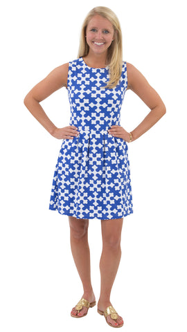Boardwalk Dress - White/Royal Gems