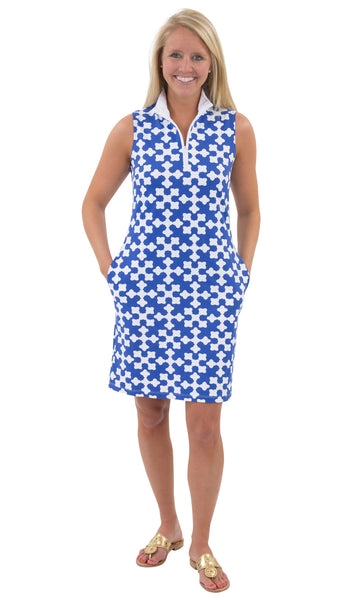 Britt Dress - White/Royal Gems FINAL SALE