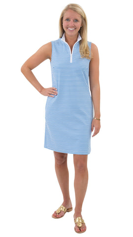 Britt Dress - Azure/White Stripes