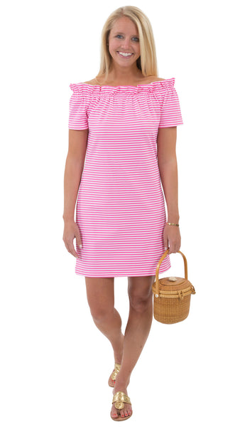 Kate Dress - White/Pink Stripes