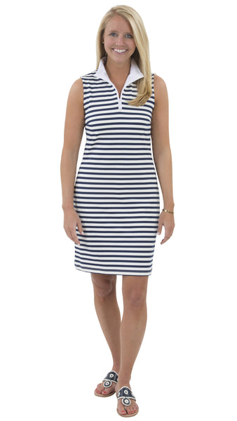 Britt Sleeveless Dress - Wide Navy/White Stripe