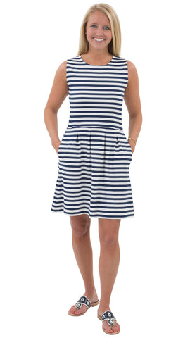 Boardwalk Dress - Navy/White Stripes