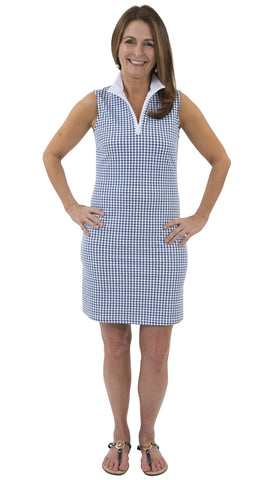 Britt Dress - White/Navy Blue Houndstooth