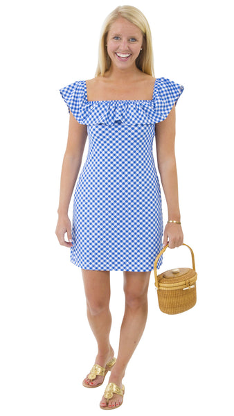 Shoreline Dress - White/Royal Gingham-FINAL SALE