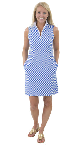 Britt Dress - White/Royal Gingham