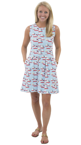 Boardwalk Dress - Sailboats