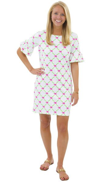 Dockside Dress - Elephants/Bamboo White/Pink/Green