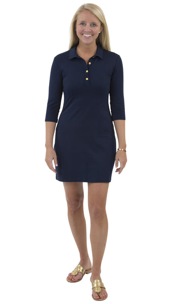 Port Dress - Solid Navy with Gold Buttons