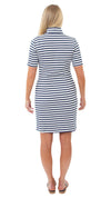 Britt Dress Short Sleeve - White/Navy Wide Stripe