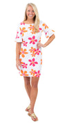 Dockside Dress- Spring Flora pink/orange - FINAL SALE