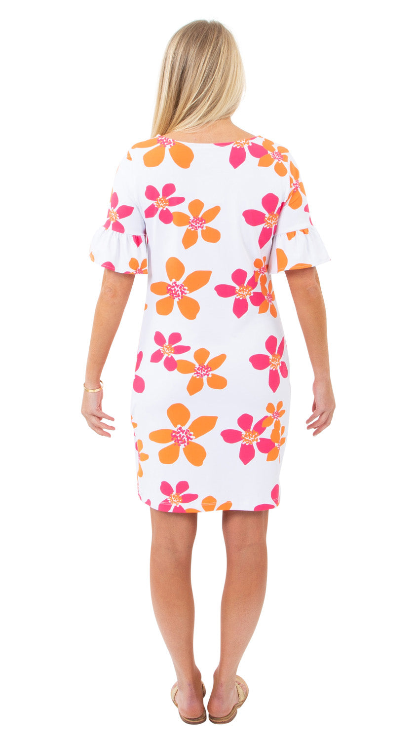 Dockside Dress- Spring Flora pink/orange