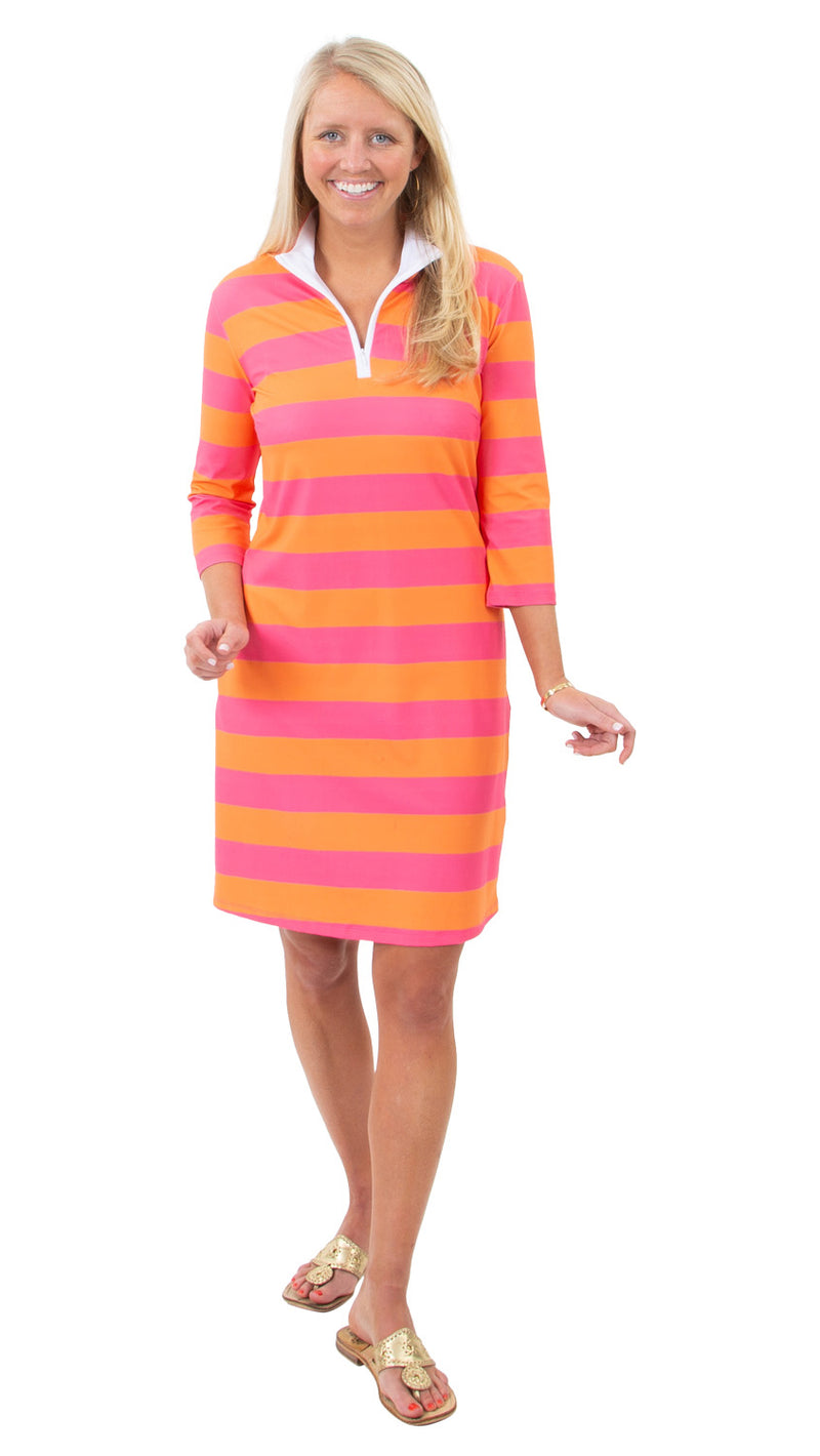 Britt Dress 3/4 Sleeve - Rugby Stripe pink/orange
