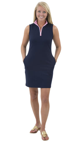 Britt Dress - Solid Navy - White/Pink Stripe Collar SAMPLE - FINAL SALE
