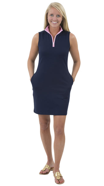 Britt Dress - Solid Navy - White/Pink Stripe Collar