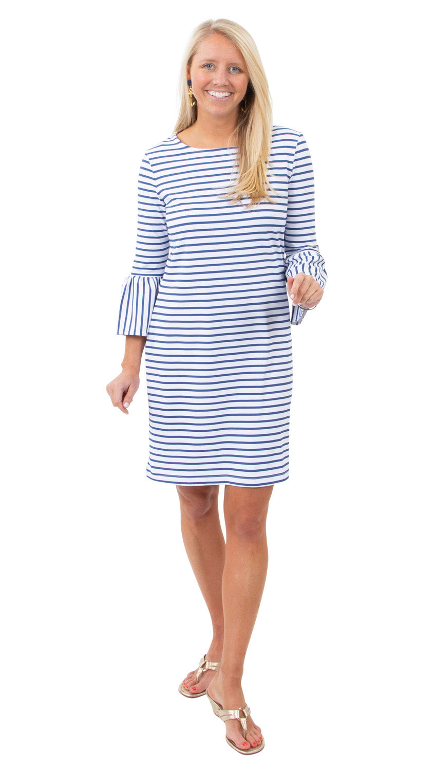 Haley Dress 3/4 Sleeve - Summer Stripe
