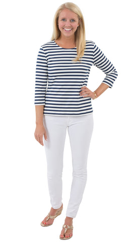 Crew Tee - Navy/White Stripes