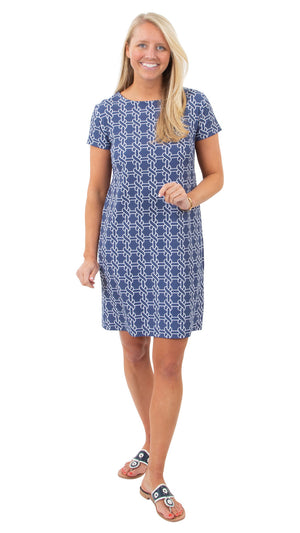 Marina Dress - Summer Knot Navy/White