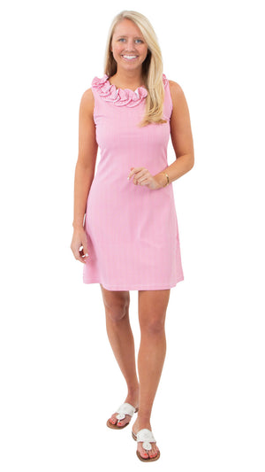 Cricket Sleeveless Dress - Hot Pink Pinstripe
