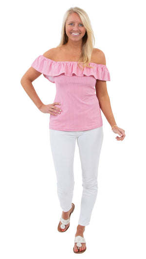 Shoreline Top - Hot Pink Pinstripe