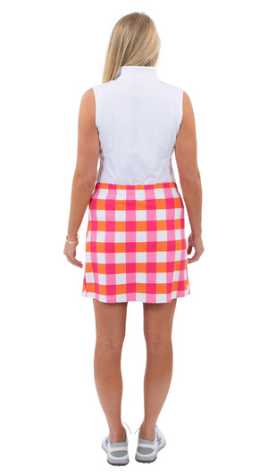 Sport Skort - 17 inch - Chatham Check pink/orange