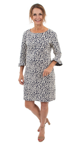 Dockside Dress 3/4 Sleeve - Navy Leopardess