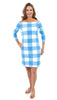Islander Dress - Chatham Check Azure/White