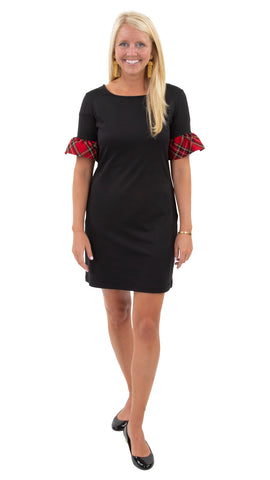 Dockside Dress - Solid Black/Holiday Red Plaid Cuff