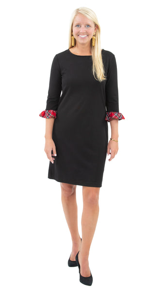 Dockside Dress 3/4 - Solid Black/Holiday Red Plaid Cuff- FINAL SALE