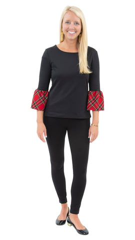 Haley Top - Solid Black/Holiday Red Plaid Cuff