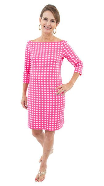 Islander Dress - Picnic Check Hot Pink/White