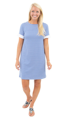 Coco Dress - White/Royal Stripes