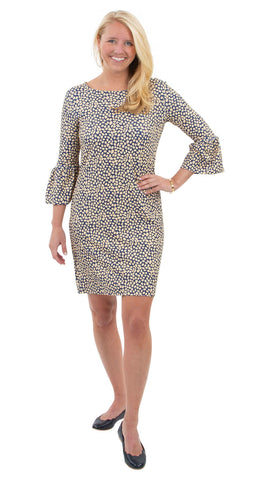 Haley Dress - Navy/Biscotti Pebble