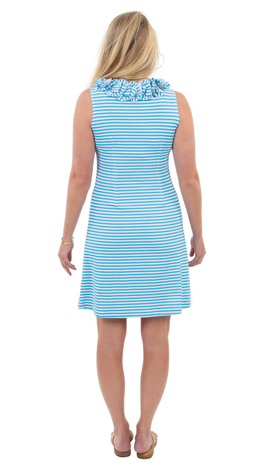 Cricket Dress Sleeveless- Aquarius/White Stripe