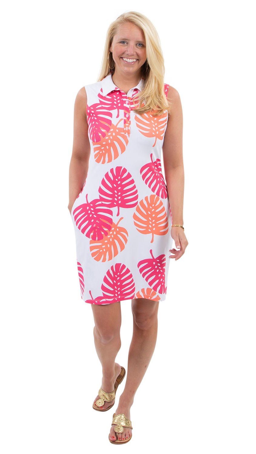 Port Dress Sleeveless - Hot Pink/Salmon Dancing Palms-  SAMPLE FINAL SALE