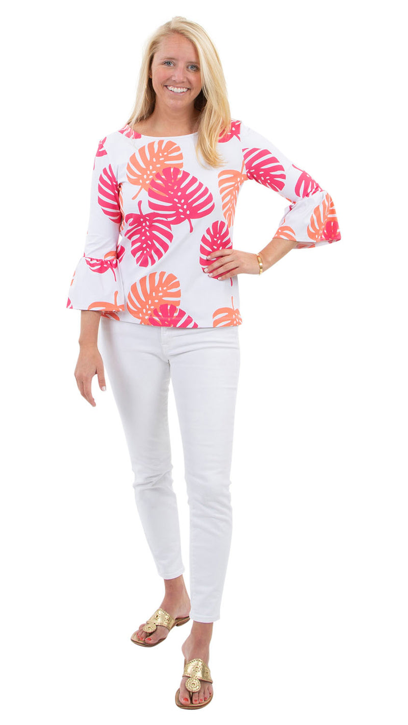 Haley Top - Hot Pink/Salmon Dancing Palms