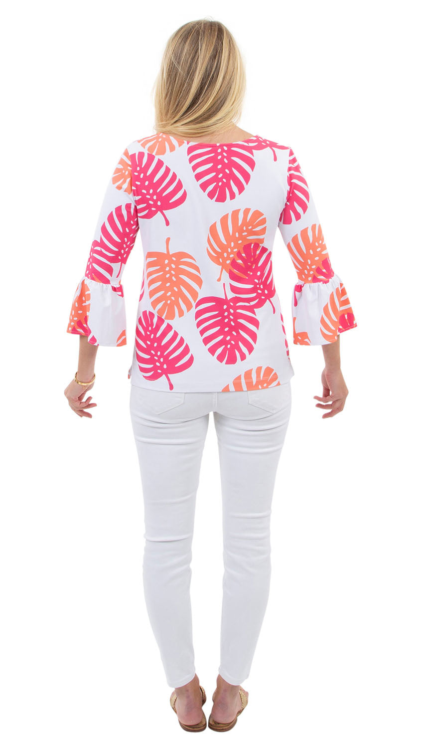 Haley Top - Hot Pink/Salmon Dancing Palms- SAMPLE FINAL SALE