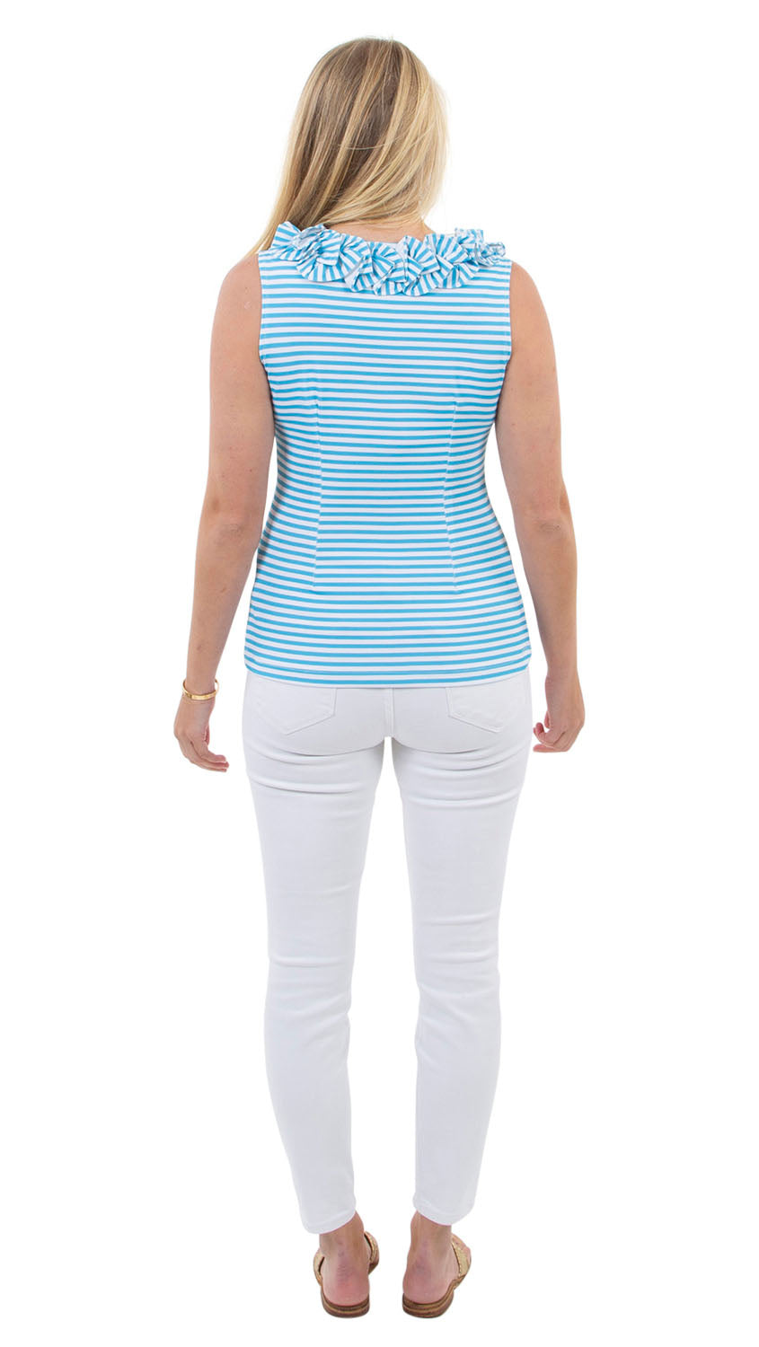 Cricket Top Sleeveless - Aquarius/White Stripe