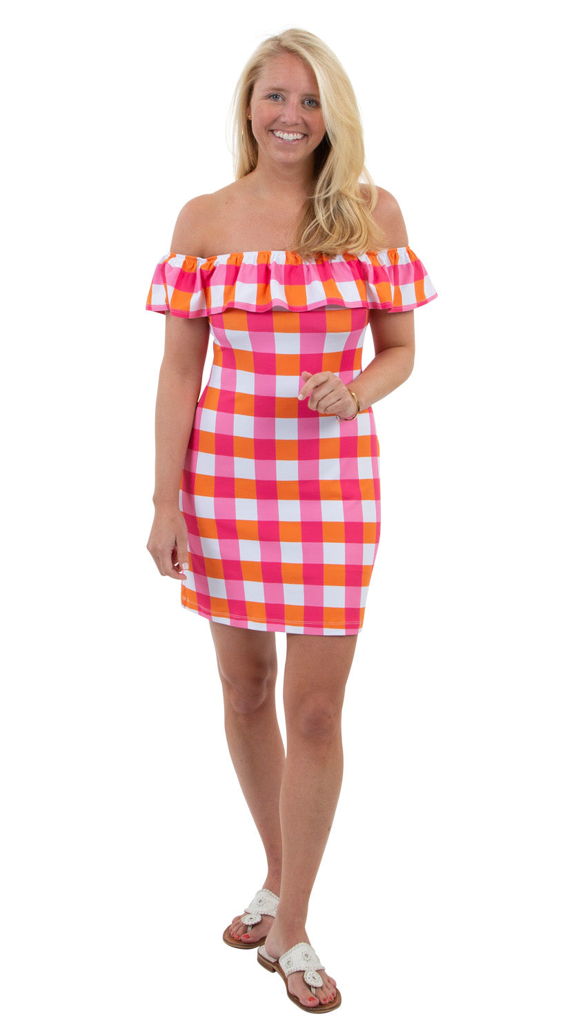 Shoreline Dress - Chatham Check Pink/Orange