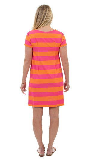 Marina Dress - Rugby Stripe Pink/Orange