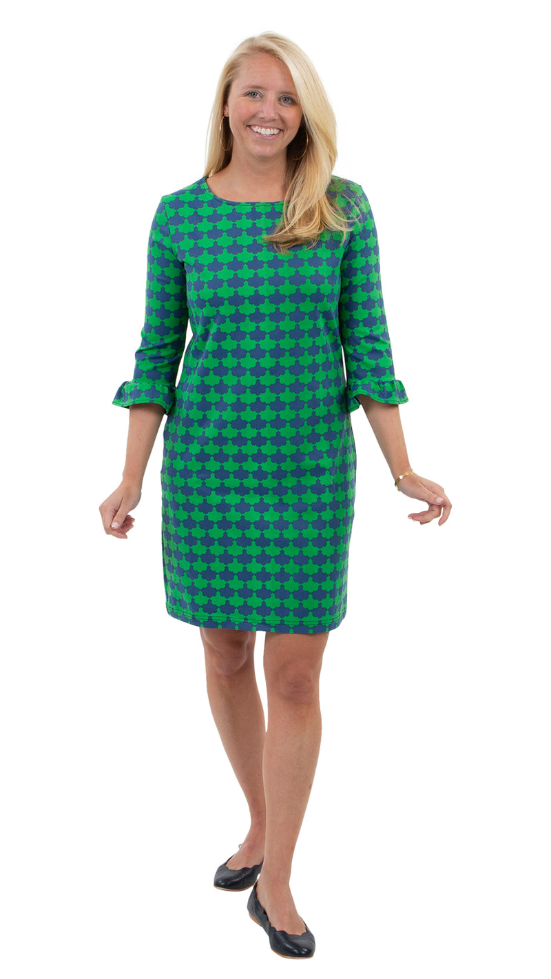 Dockside Dress 3/4 - Navy/Kelly Green Blossoms - FINAL SALE