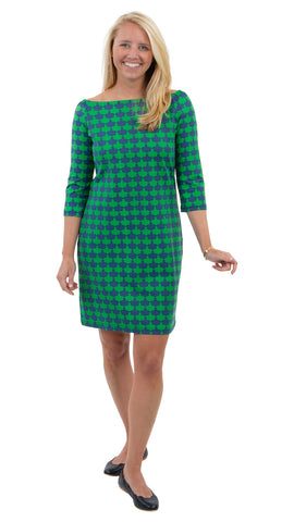 Islander Dress - Navy/Kelly Green Blossoms