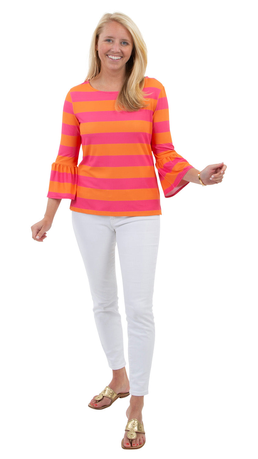 Haley Top - Rugby Stripe Pink/Orange