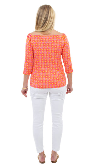 Islander Top- Geo Pink/Orange- FINAL SALE