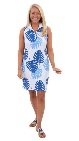 Britt Sleeveless Dress - Blues Dancing Palms - FINAL SALE