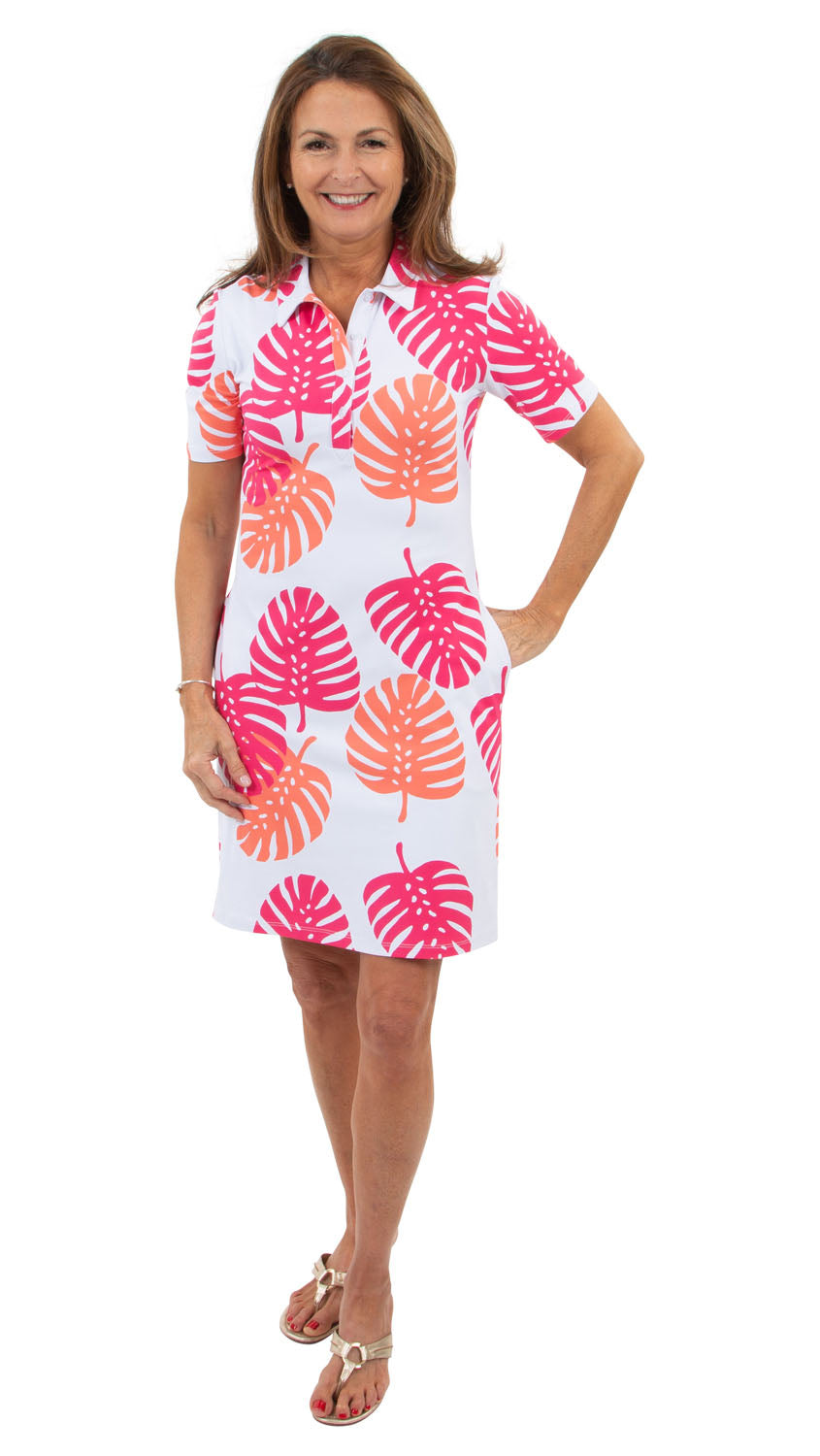 Port Short Sleeve Dress - Hot Pink/Salmon Dancing Palms-SAMPLE FINAL SALE